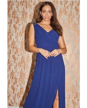 Little Mistress Bridesmaid Alessandra Navy Jewel Strap Maxi Dress size