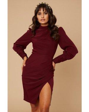 Little Mistress River Purple Zip Detail Pencil Dress size: 16 UK, colo