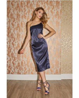 Little Mistress Caitlyn Navy Satin One-Shoulder Midi Dress size: 6 UK,