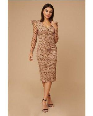 Little Mistress Quinn Nude Spot Mesh Midi Dress size: 14 UK, colour: N