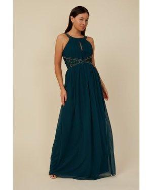 Little Mistress Bridesmaid Lauren Emerald Green Lace Insert Maxi Dress