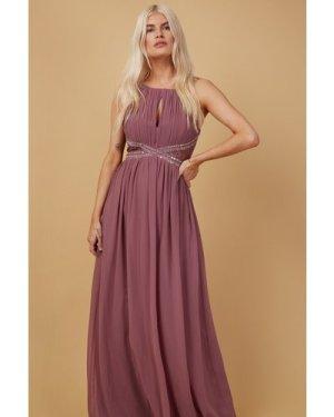 Little Mistress Bridesmaid Lauren Mauve Lace Insert Maxi Dress With Ke