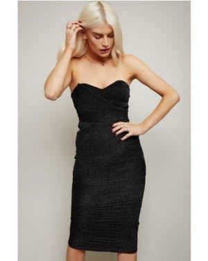 Little Mistress Inessa Black Glitter Mesh Bandeau Midi Dress size: 16