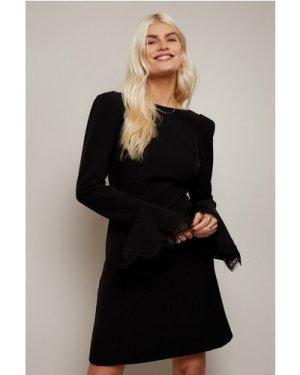 Little Mistress Lanyon Black Lace-Trim Mini Dress size: 6 UK, colour:
