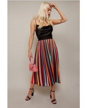 Little Mistress Unity Rainbow Stripe Satin Pleated Midi Skirt size: 6