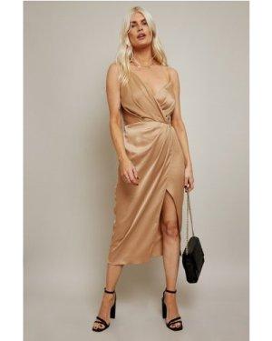 Little Mistress Fletcher Gold Satin Mock Wrap Midi Dress size: 12 UK,