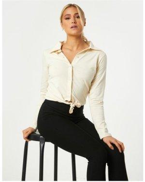 Little Mistress Amaury Sand Tie-Front Shirt size: 14 UK, colour: Sand