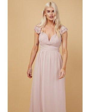 Little Mistress Bridesmaid Nela Blush Embellished Sleeve Maxi Dress si