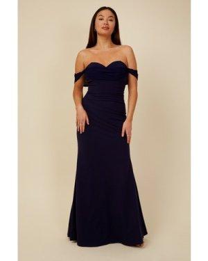 Little Mistress Bridesmaid Rafaela Navy Bardot Maxi Dress size: 10 UK,