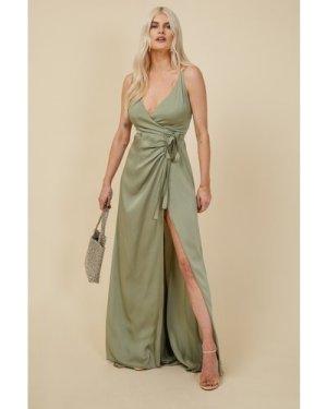 Little Mistress Bridesmaid Ayla Waterlily Satin Wrap Dress size: 8 UK,
