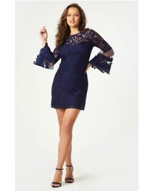 Little Mistress Rafaela Navy Lace Fluted Sleeve Shift Dress size: 14 U