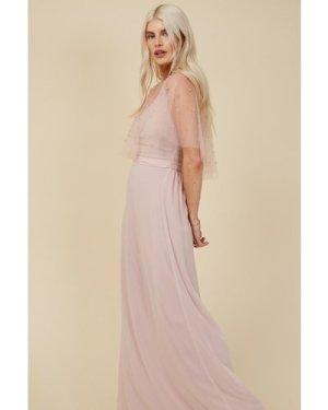 Little Mistress Bridesmaid Nela Blush Pearl Mesh Overlay Maxi Dress si