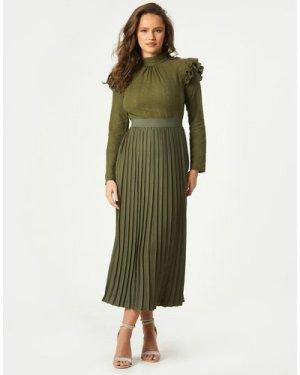 Little Mistress Milena Khaki Embroidered Pleated Midaxi Dress size: 16