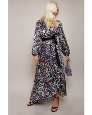 Little Mistress Zaire Leopard-Print Satin Asymmetric Maxi Wrap Dress s