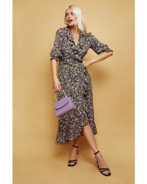 Little Mistress Acapulco Floral-Print Midi Wrap Dress size: 12 UK, col