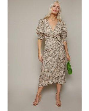 Little Mistress Firth Dalmatian-Print Midi Wrap Dress size: 6 UK, colo