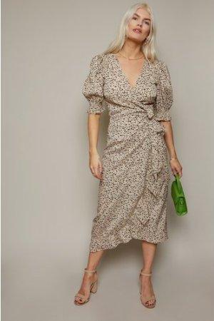 Little Mistress Firth Dalmatian-Print Midi Wrap Dress size: 10 UK, col