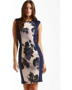 Little Mistress Navy Panelled Floral Front Dress size: 8 UK, colour: F
