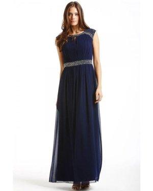 Little Mistress Navy Embellished Open Back Maxi Dress size: 18 UK, col