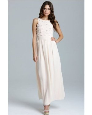 Little Mistress Nude Applique Maxi Dress size: 18 UK, colour: Nude