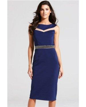 Little Mistress Navy Mesh Insert Bardot Dress size: 10 UK, colour: Nav