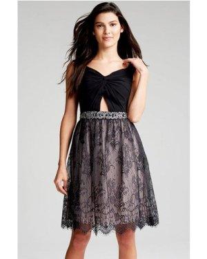 Little Mistress Black Lace Cut Out Dress size: 6 UK, colour: Black / M