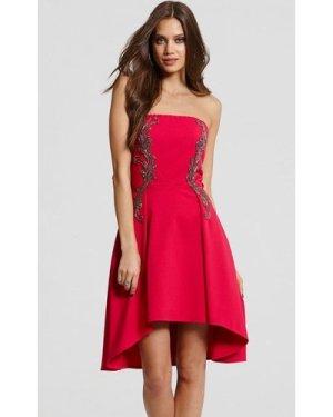Little Mistress Pink Embellished Prom Dress size: 14 UK, colour: Pink