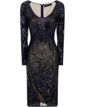 Little Mistress Navy Embellished Sheer Cut Out Dress size: 12 UK, colo