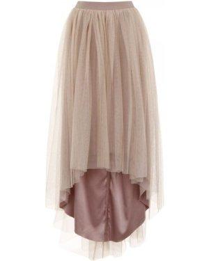 Little Mistress Mink Tulle Dip Hem Skirt size: 10 UK, colour: Mink
