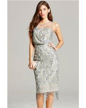 Little Mistress Grey Lace Bodycon Dress size: 8 UK, colour: Grey