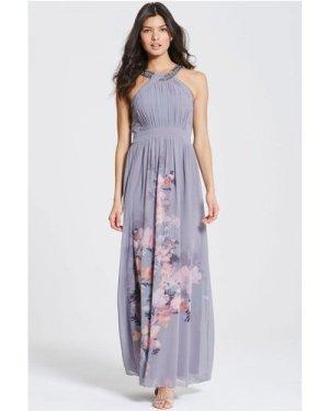 Little Mistress Grey Floral Print Chiffon Maxi Dress size: 14 UK, colo