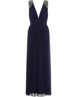 Little Mistress Navy Plunge Peplum Maxi Dress size: 14 UK, colour: Nav
