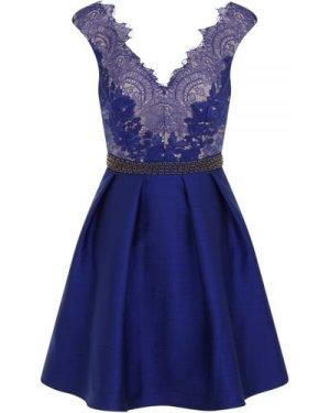Little Mistress Cobalt Embellished Lace Fit and Flare Dress size: 10 U