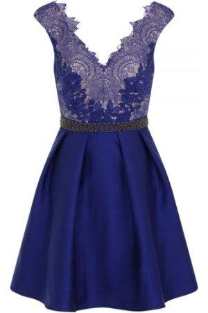 Little Mistress Cobalt Embellished Lace Fit and Flare Dress size: 14 U