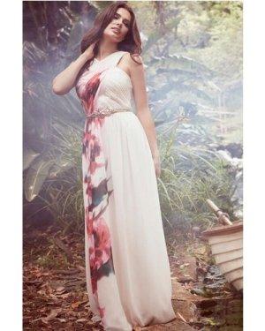 Little Mistress Blur Print Crossover Front Maxi dress size: 10 UK, col