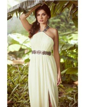 Little Mistress Lemon Embellished Exposed Back Maxi Dress size: 14 UK,