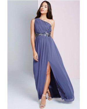 Little Mistress Lavender Grey One Shoulder Maxi Dress size: 16 UK, col