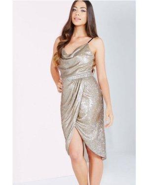 Little Mistress Gold Sequin Wrap Front Skirt size: 14 UK, colour: Gold