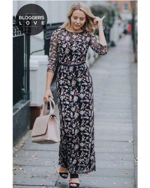 Little Mistress Embroidered Floral Maxi Dress size: 6 UK, colour: Mult