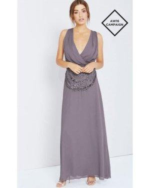 Little Mistress Grey Drape Front Maxi With Embellishment size: 14 UK,