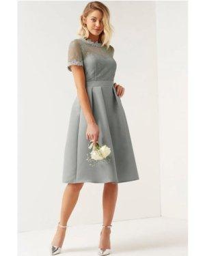 Little Mistress Grey High Neck Lace Dress size: 12 UK, colour: Grey