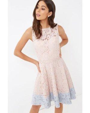 Little Mistress Pink Lace Mini Dress size: 16 UK, colour: Rose