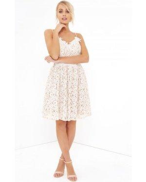 Little Mistress White Lace Midi Dress size: 10 UK, colour: White