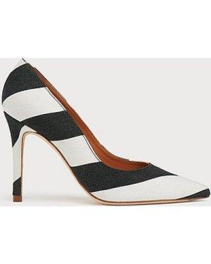 Fern Monochrome Stripe Fabric Pointed Toe Courts, Black White