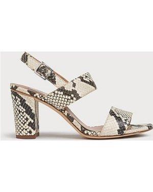 Rhiannon Snake Print Leather Sandals, White Grey
