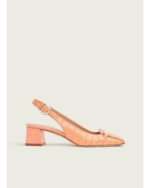 Harlem Apricot Croc-Effect Leather Slingbacks, Apricot