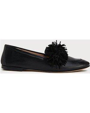 Lera Black Leather Tassel Loafers, Black