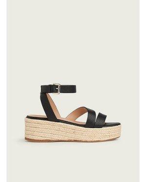 Siena Black Leather Casual Sandals, Black