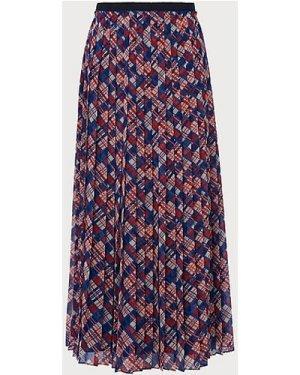 Avery Painted Check Print Pleated Midi Skirt, Blue Multi