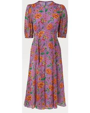 Garland Purple 1940's Floral Print Silk Dress, Purple